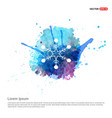 snow flake icon - watercolor background vector image