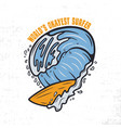 vintage surf print design for t-shirt and other vector image vector image