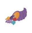 violet cornucopia full of ripe vegetables and vector image