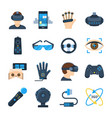 virtual reality icon set in flat style vector image vector image