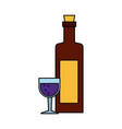 wine bottle and cup vector image
