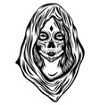 women with face art and big hood vector image