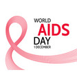 world aids day abstract red ribbon vector image vector image
