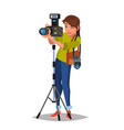 young female photographer take a photo vector image