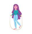 young girl with jump rope character isolated icon vector image