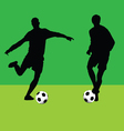 football player with ball silhouette vector image
