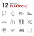 12 airline icons vector image vector image