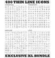 400 thin line icons bundle vector image