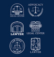 advocacy or lawyer legal icons set vector image vector image