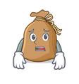 afraid sack mascot cartoon style vector image vector image