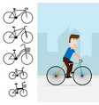 bike bicycle icon man riding bicycle flat design vector image