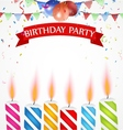 Birthday celebration with balloons and candle vector image vector image