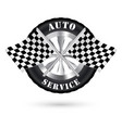 car auto service logo with racing flag vector image
