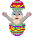 cartoon bunny come out from an easter egg vector image vector image