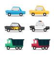 cartoon car icon set vector image vector image