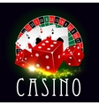 Casino wheel of fortune poker cards poster vector image vector image