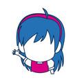 Chibi anime girl face blue hair