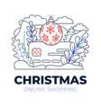 christmas online shopping credit card outline vector image