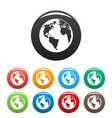 continent on planet icons set color vector image vector image