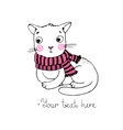 Cute cartoon cat and scarf vector image