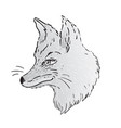cute fox face profile view character tattoo vector image