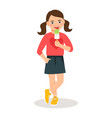 cute girl with sweet icecream cone vector image