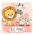 cute lion and giraffel on a pink background vector image vector image