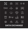 data exchange editable line icons set on vector image vector image