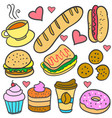 doodle of element food various set vector image