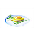 egg on white plate vector image vector image