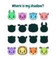 find correct shadow logic game for children vector image