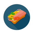 flat style sandwich icon vector image