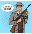 Gangster with machine gun pop art style vector image vector image