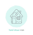 gingerbread house icon line element vector image