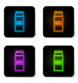 glowing neon paper package for milk icon isolated vector image