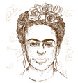hand drawn portrait frida kahloi vector image vector image