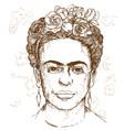 hand drawn portrait friday kahloi vector image vector image
