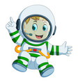 happy boy in astronaut costume vector image