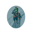 Horse and jockey racing race track vector image vector image
