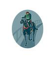 Horse and jockey racing race track vector image vector image