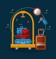 hotel luggage trolley stacked suitcases bag clock vector image vector image