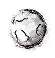 inky planet earth with seas and continents vector image vector image