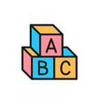 letter cubes alphabet toys flat color icon vector image vector image