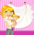 mom with baby girl pink openwork announcement card vector image