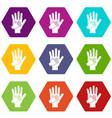 parent and child hands together icon set color vector image vector image