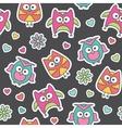 pattern cartoon owls vector image
