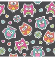 pattern of cartoon owls vector image vector image