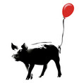 pig with red balloon vector image vector image