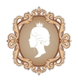 profile silhouette a princess in frame vector image vector image