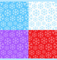 set of seamless patterns with snowflakes vector image vector image